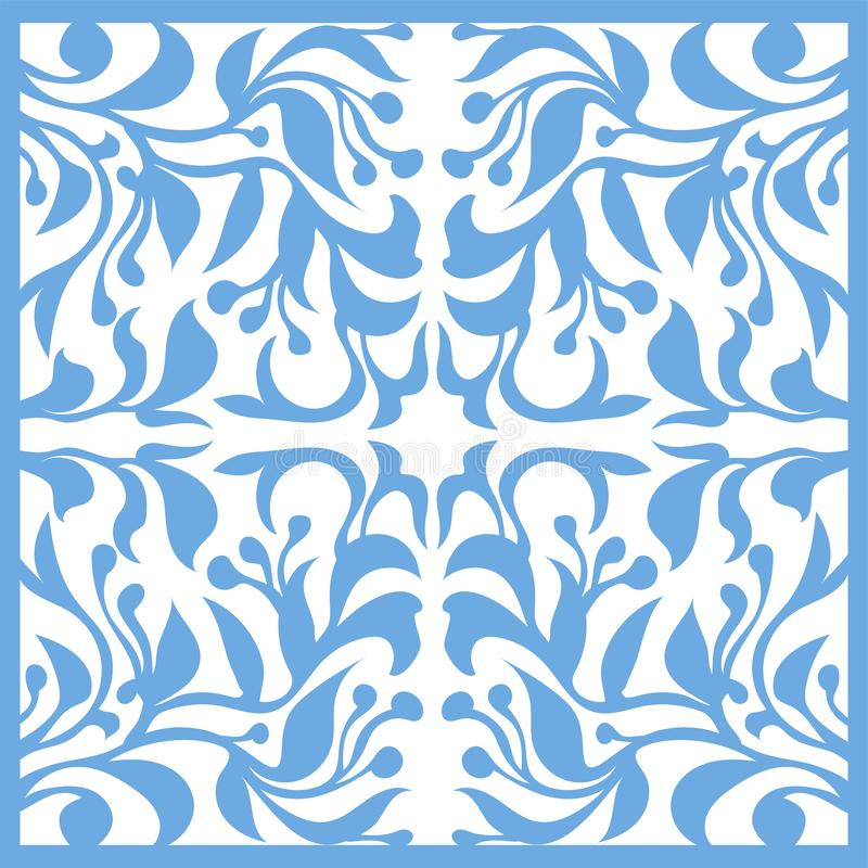 Silhouette décorative pour couper la carte, porte, porte, fenêtre Art Nouveau Flowers Pattern illustration libre de droits