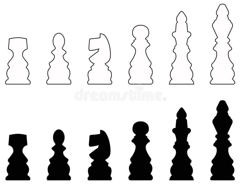 Silhouette d'échecs - le jeu de société à deux joueurs de stratégie a joué sur un échiquier illustration de vecteur