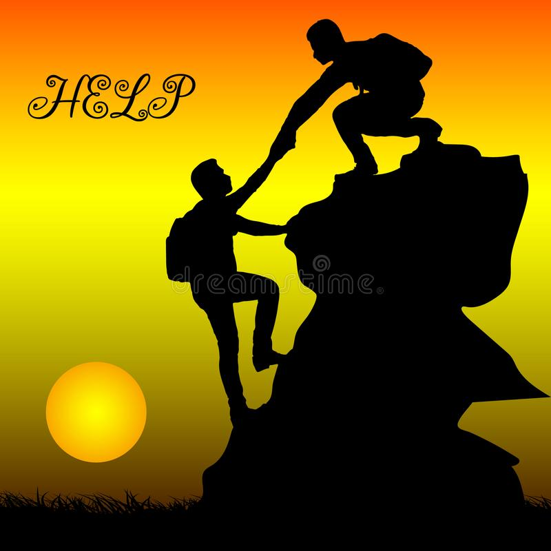 Silhouette d'aide de métaphore de deux personnes, appui, amitié, o illustration libre de droits