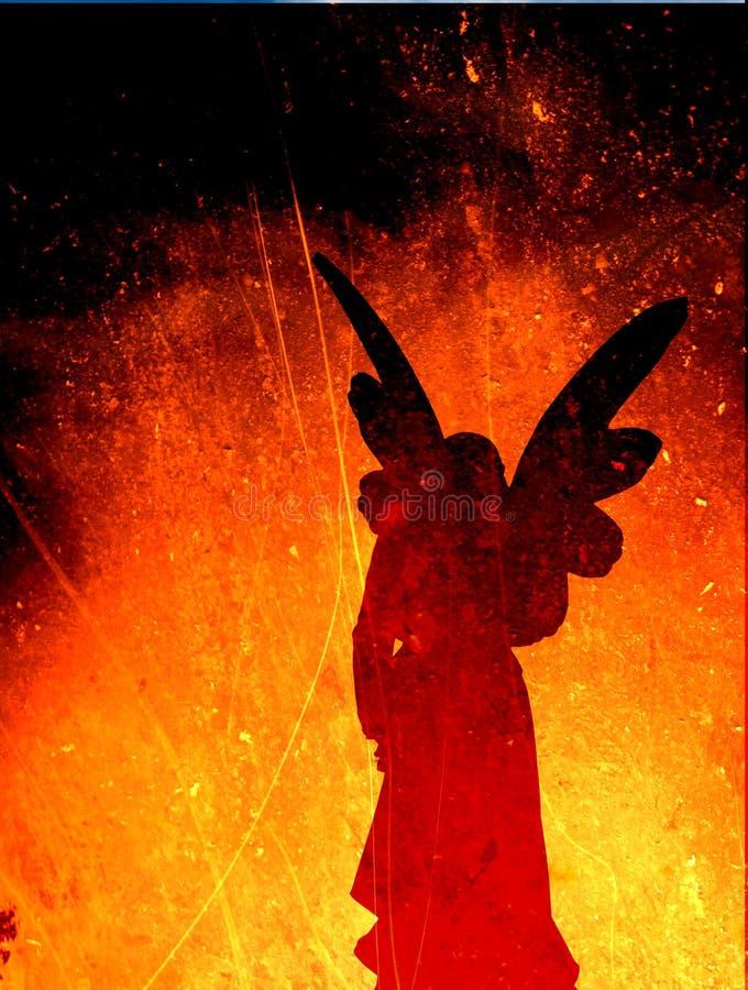 Silhouette d'ange sur une texture d'incendie illustration stock