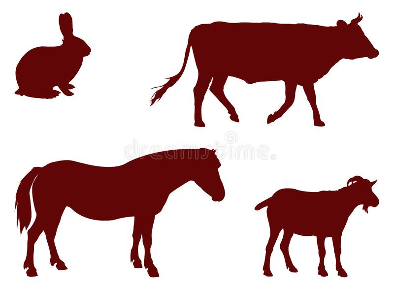 Silhouette d'animaux de ferme illustration de vecteur