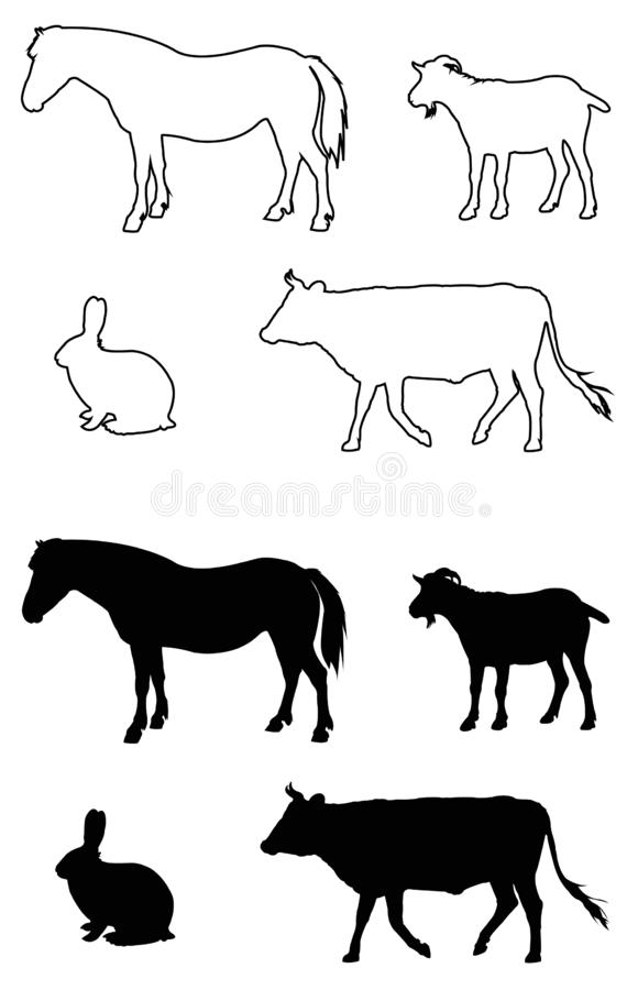 Silhouette d'animaux de ferme illustration stock