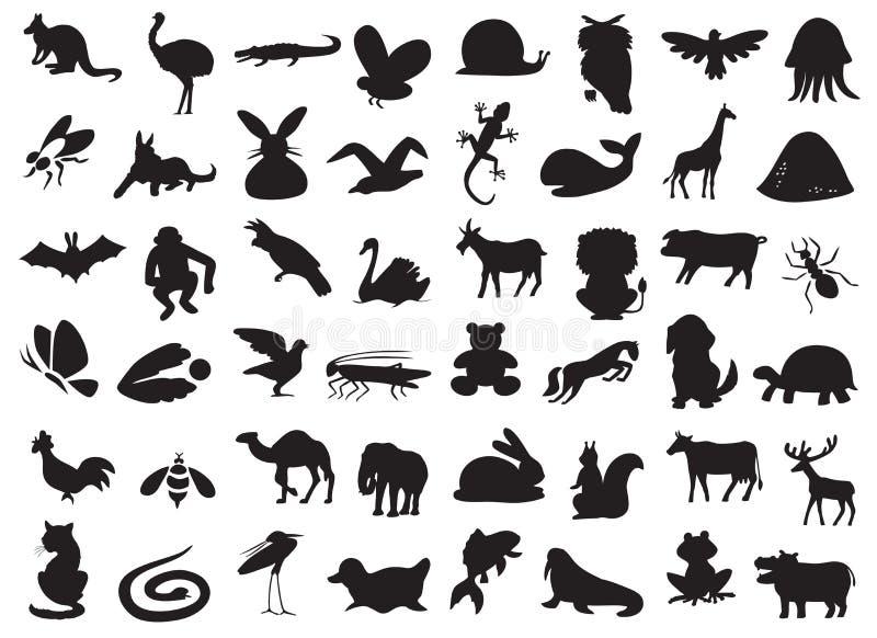 Silhouette d'animaux sauvages et domestiques illustration de vecteur