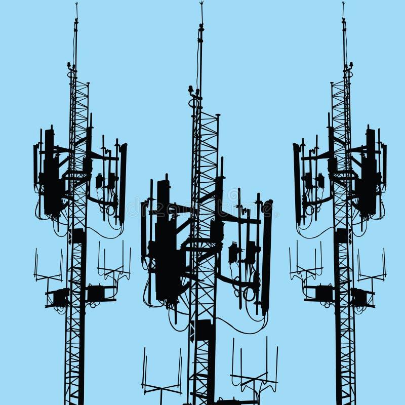 Silhouette d'antenne de GSM illustration libre de droits