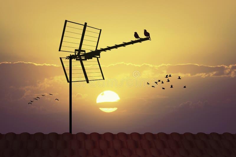 Silhouette d'antenne de TV au coucher du soleil illustration de vecteur