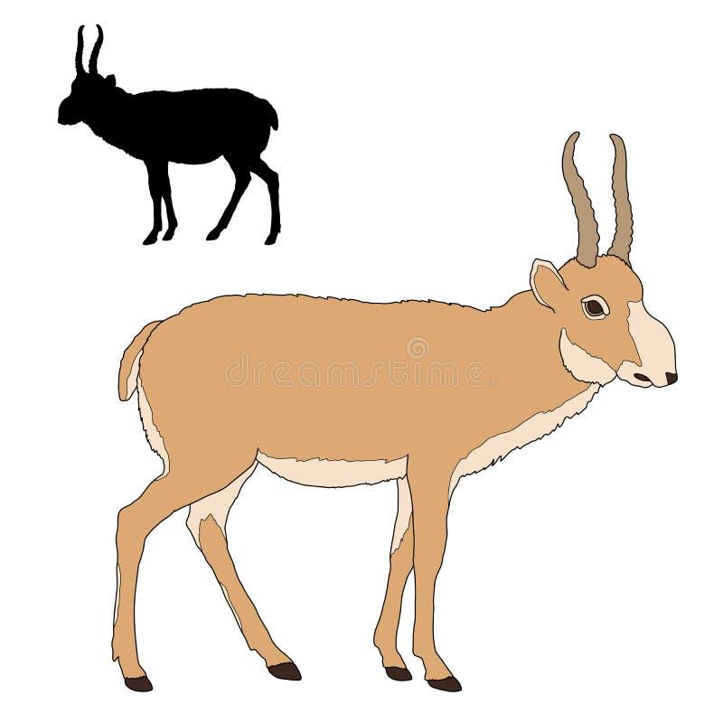 Silhouette d'antilope de Saiga illustration de vecteur