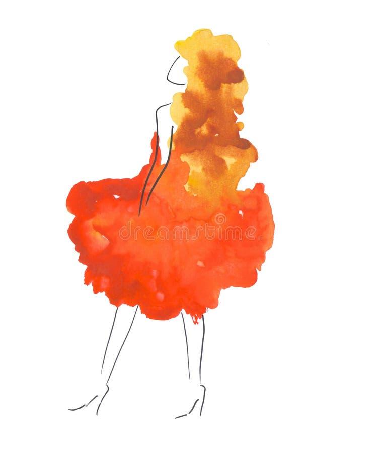 Silhouette d'aquarelle de fille d'isolement sur le fond blanc illustration libre de droits