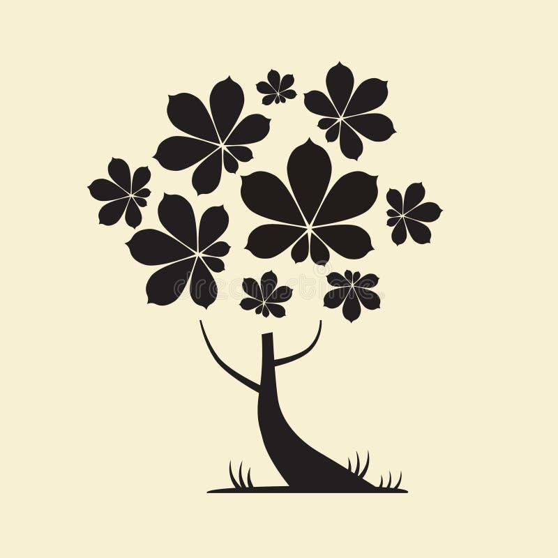 Silhouette d'arbre avec des feuilles de châtaigne illustration de vecteur