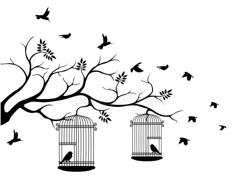 Silhouette d'arbre avec le vol d'oiseau illustration stock