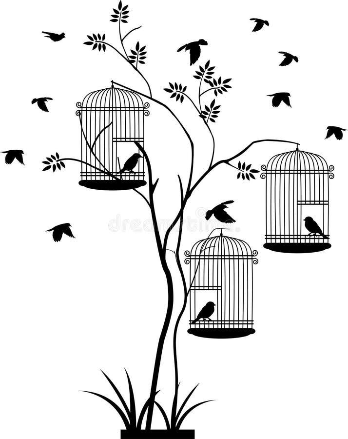 Silhouette d'arbre avec le vol d'oiseau illustration de vecteur