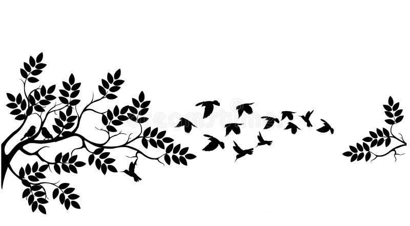 Silhouette d'arbre avec voler d'oiseaux illustration stock