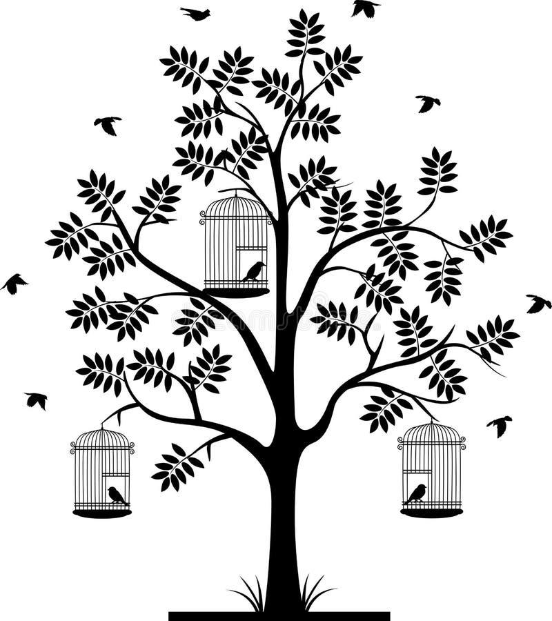 Silhouette d'arbre avec voler d'oiseaux et oiseau dans une cage illustration de vecteur