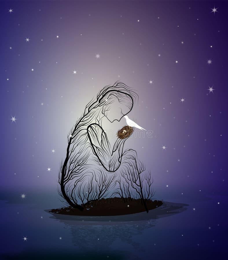 Silhouette d'arbre comme un nid de participation de femme avec l'oiseau blanc la nuit, concept féerique de combat, illustration stock