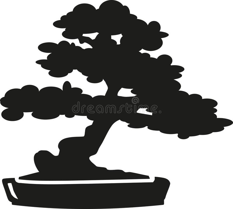 Silhouette d'arbre de bonsaïs illustration de vecteur