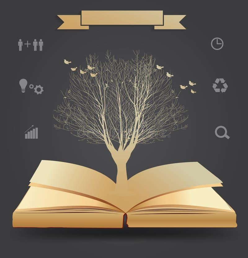 Silhouette d'arbre de vecteur sur le livre illustration de vecteur