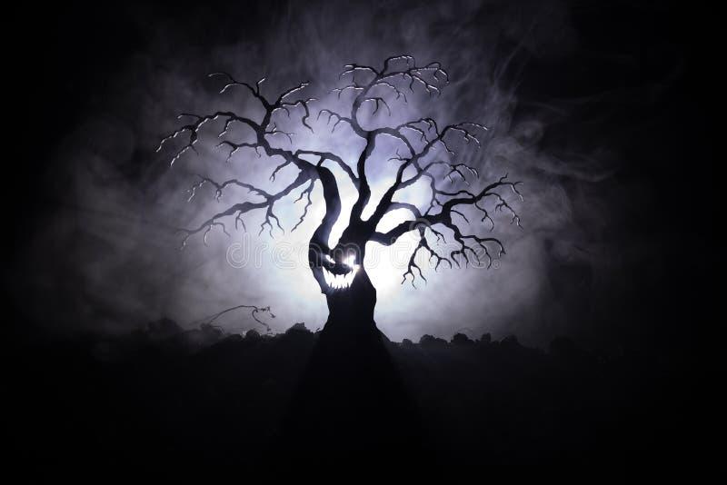 Silhouette d'arbre effrayant de Halloween avec le visage d'horreur sur le fond modifié la tonalité brumeux foncé avec la lune de  illustration stock