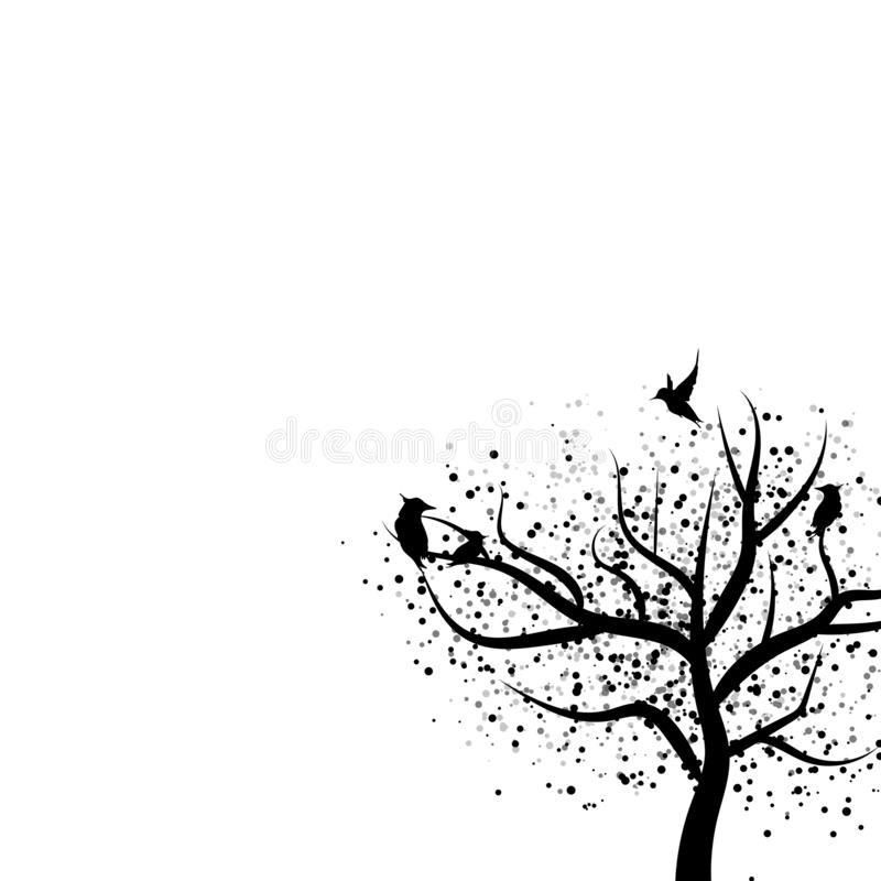 Silhouette d'arbre et d'oiseaux avec des taches de point de dispersion d'isolement sur le whi illustration libre de droits