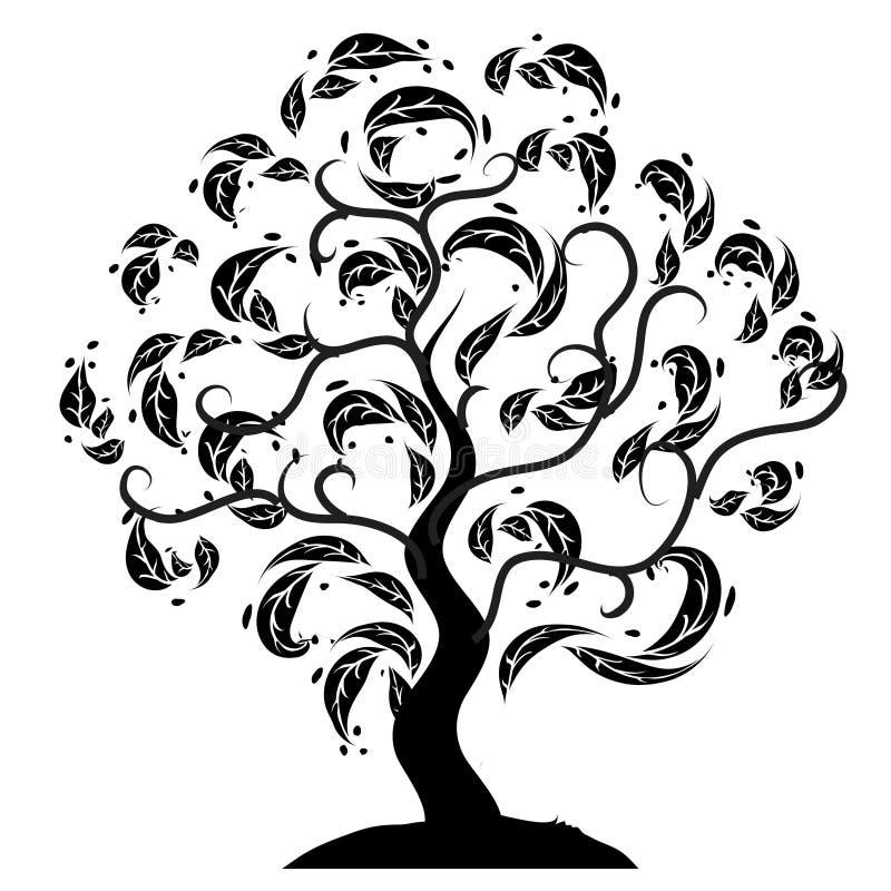 Silhouette d'arbre vieille, herbe illustration de vecteur