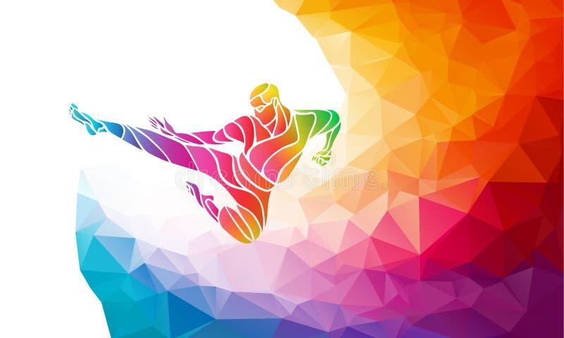 Silhouette d'arc-en-ciel de couleur de coup-de-pied de saut d'arts martiaux Combattant de karaté illustration stock