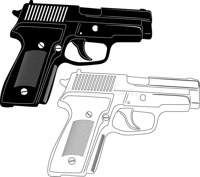 Silhouette d'arme à feu illustration libre de droits