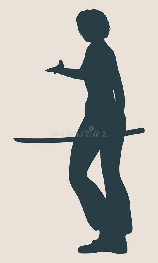 Silhouette d'art martial de karaté de femme avec l'épée illustration libre de droits