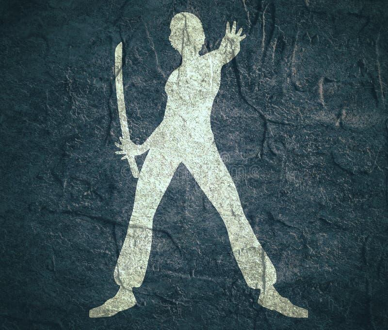 Silhouette d'art martial de karaté de femme avec l'épée illustration de vecteur