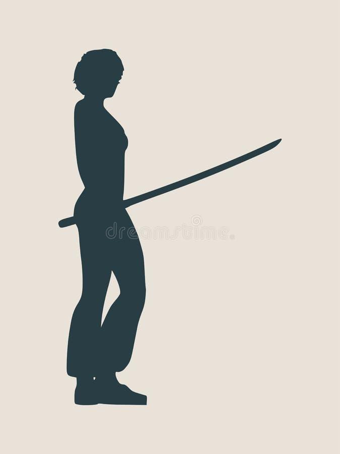 Silhouette d'art martial de karaté de femme avec l'épée illustration stock