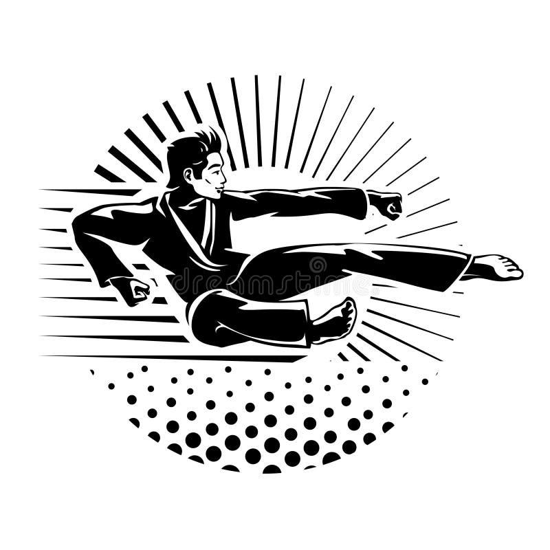 Silhouette d'art martial de karaté de l'homme illustration de vecteur