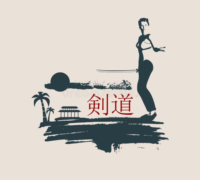 Silhouette d'art martial de Kung Fu de femme avec l'épée illustration de vecteur