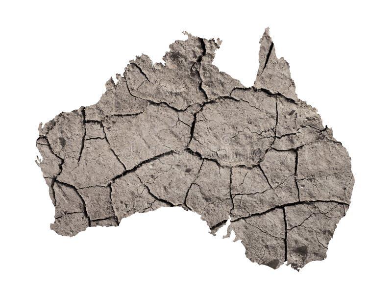 Silhouette d'Australie La carte est accomplie avec l'image de la terre sèche image libre de droits