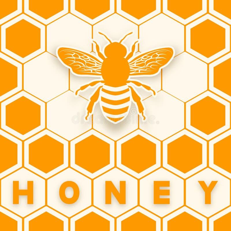 Silhouette d'autocollant d'abeille de miel sur le fond de nid d'abeilles illustration de vecteur