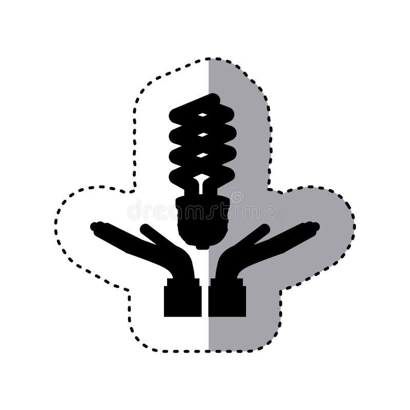 Silhouette d'autocollant des mains tenant une ampoule moderne illustration stock