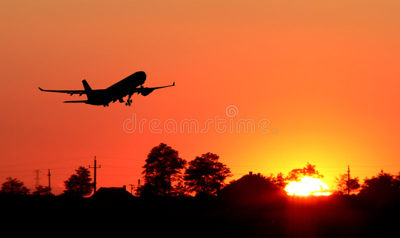 silhouette d'avion images libres de droits