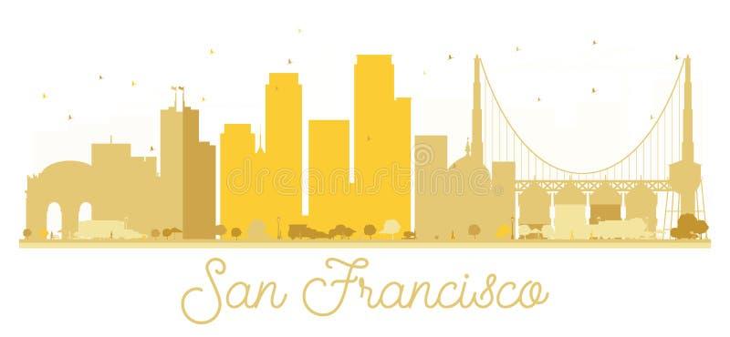 Silhouette d'or d'horizon de San Francisco City illustration stock