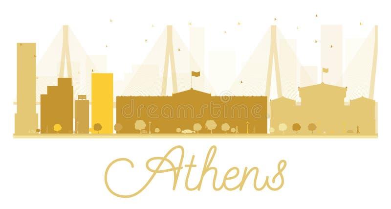 Silhouette d'or d'horizon de ville d'Athènes illustration de vecteur
