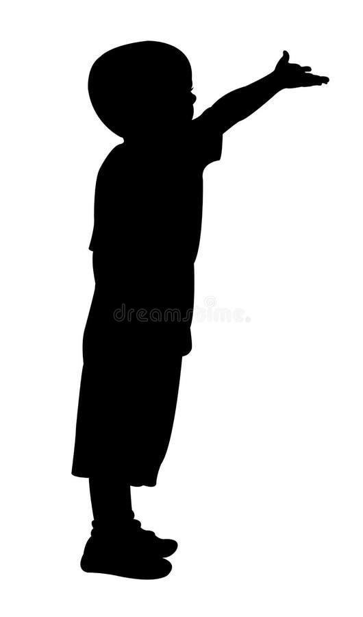 Silhouette d'enfant de mendiant illustration de vecteur