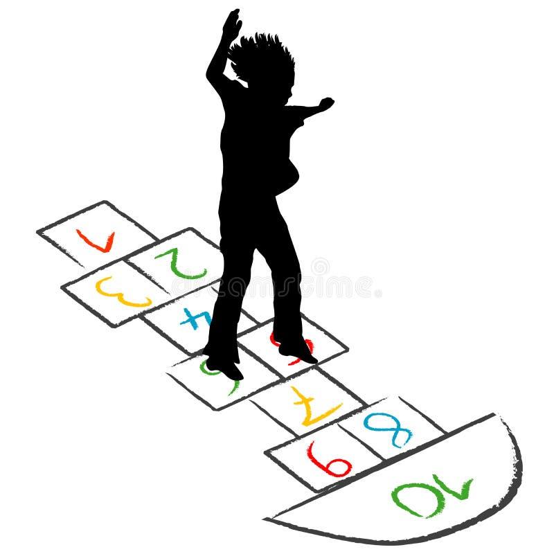 Silhouette d'enfant sautant par-dessus le jeu de marelle illustration de vecteur