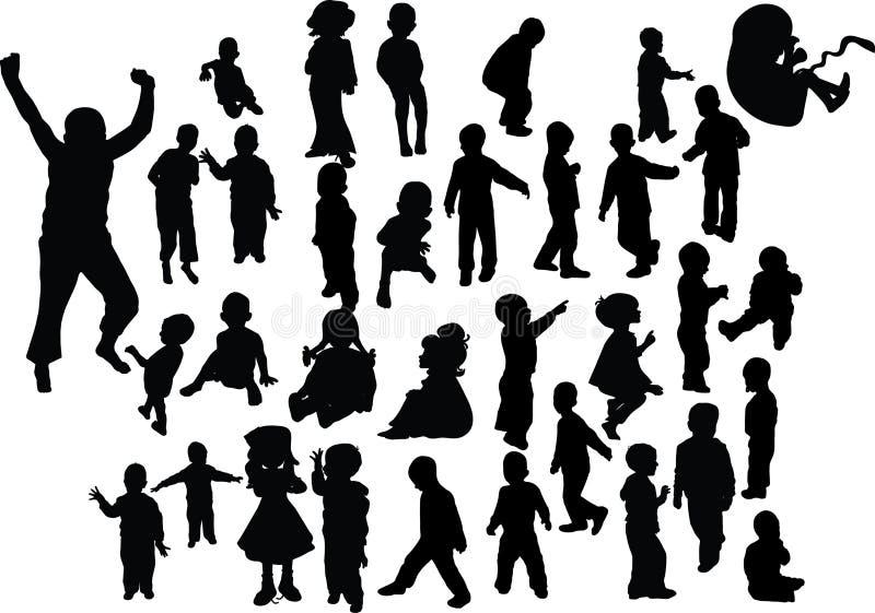 Silhouette d'enfants photo stock