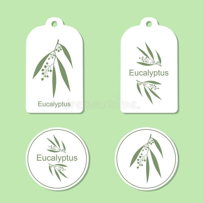 Silhouette d'eucalyptus avec des feuilles Plante médicinale Style de vie sain Illustration de vecteur Ensemble de santé et de nat illustration libre de droits