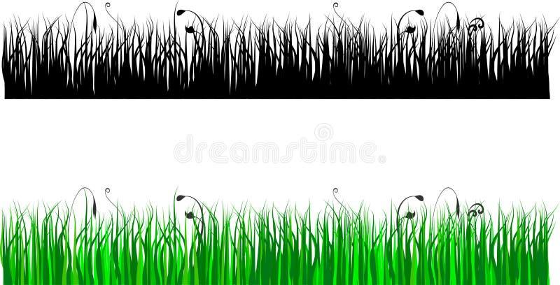 Silhouette d'herbe en couleurs et le noir illustration libre de droits