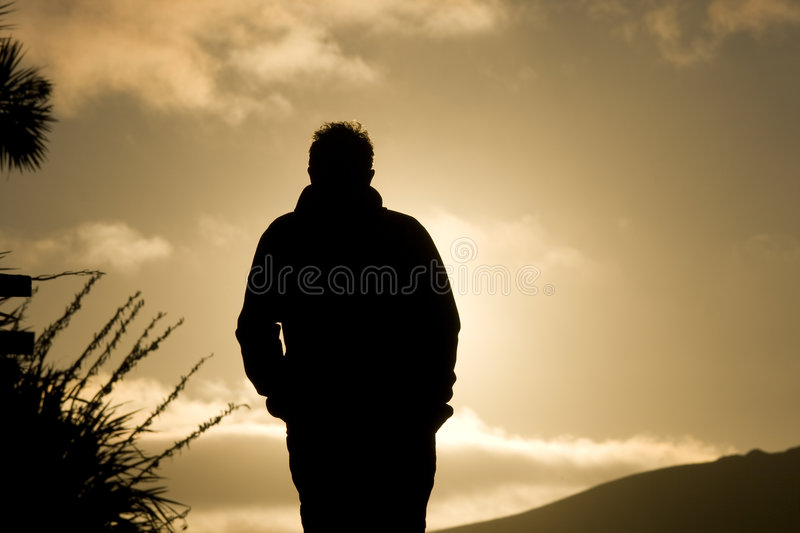 Silhouette d'homme images stock