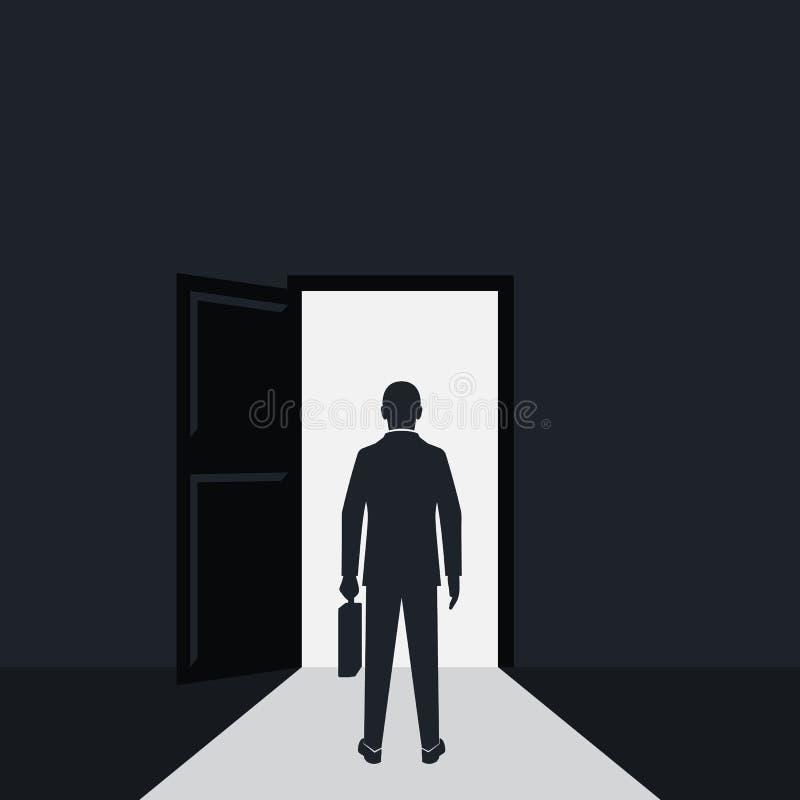 Silhouette d'homme d'affaires marchant à la porte ouverte illustration stock