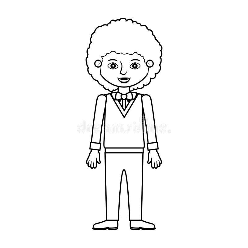 Silhouette d'homme avec le costume formel de cheveux onduleux illustration stock