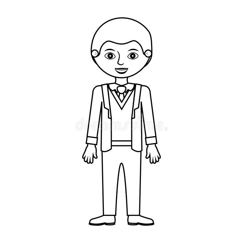 Silhouette d'homme avec le costume formel et les affaires illustration libre de droits