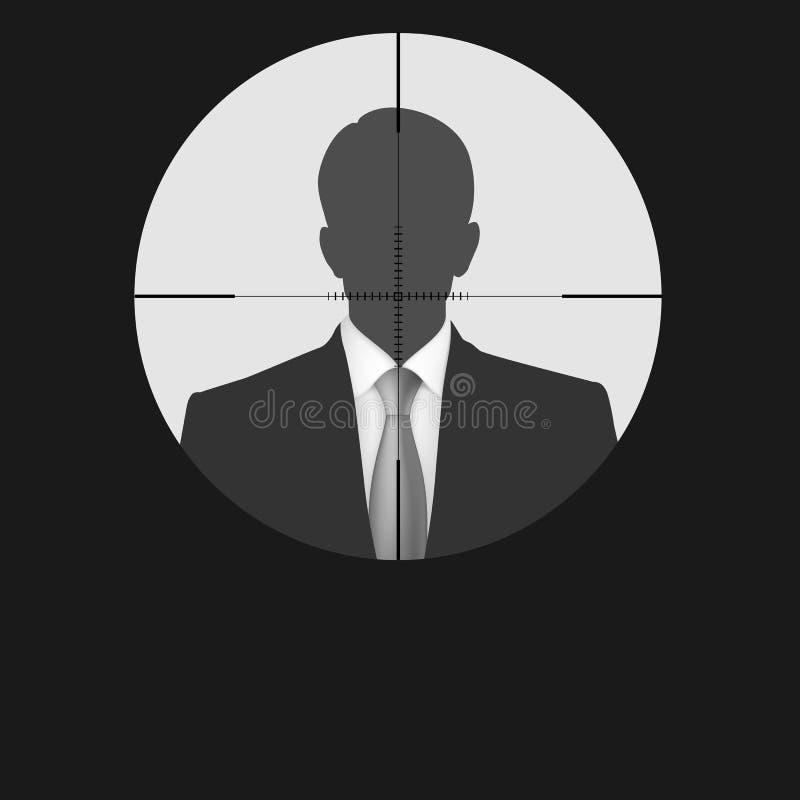Silhouette d'homme de réticule de portée de tireur isolé illustration stock