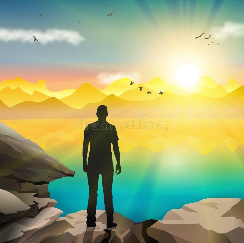 Silhouette d'homme observant le lever de soleil illustration stock