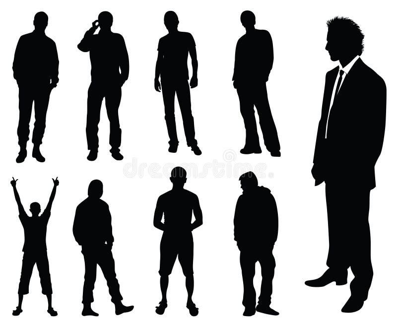 silhouette d'hommes illustration libre de droits