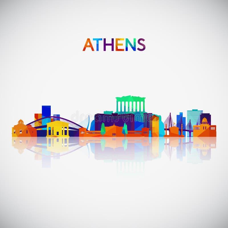 Silhouette d'horizon d'Athènes dans le style géométrique coloré illustration stock