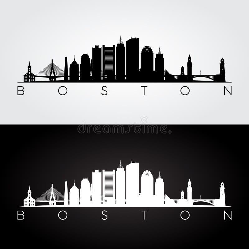 Silhouette d'horizon de Boston photographie stock libre de droits