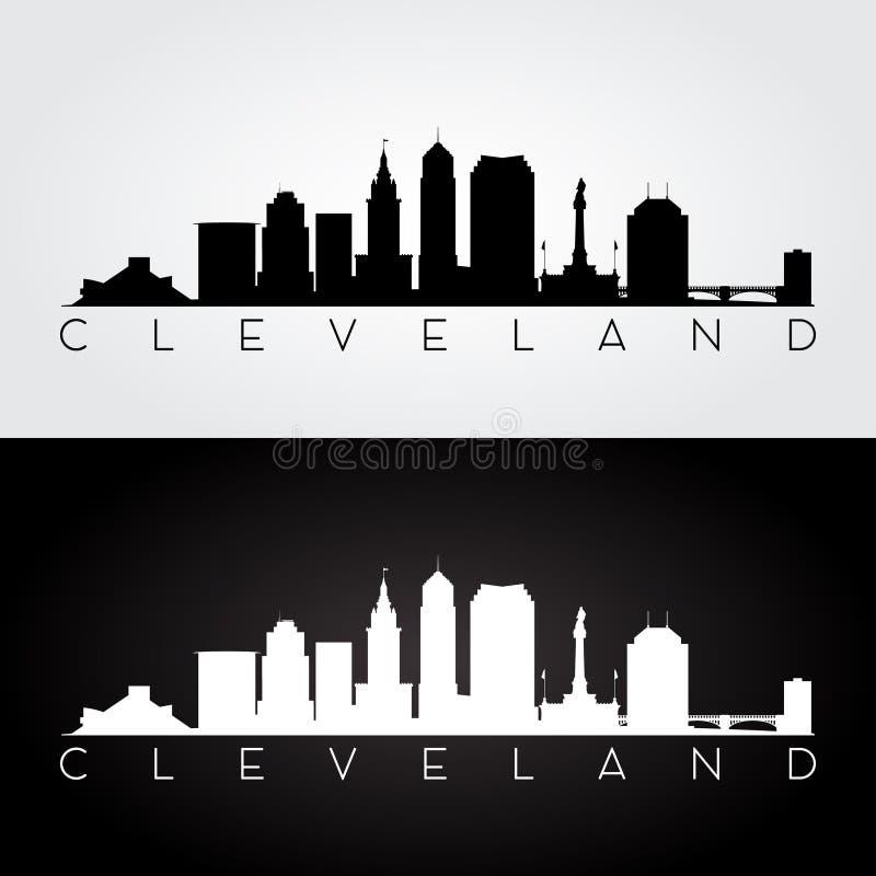 Silhouette d'horizon de Cleveland photo stock